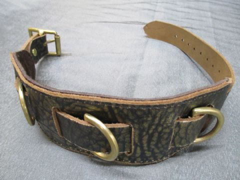 Genuine Leather Ancient Pharaoh Gold Design Heavy Duty Slave Collar with Solid Brass Fittings.